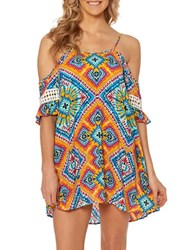 Jessica Simpson Cold Shoulder Printed Coverup