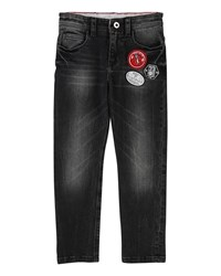 Little Marc Jacobs Faded Denim Trousers W Badges Black