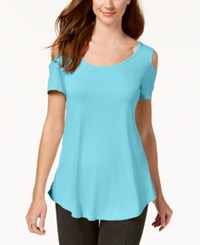Jm Collection Cold Shoulder Swing T Shirt Created For Macy's Reef Aqua