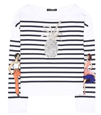 Dolce And Gabbana Striped Cotton T Shirt White