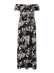 Dorothy Perkins Floral Ruffle Bardot Maxi Dress Black