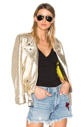 Alyson Eastman Gem Leather Jacket Metallic Gold