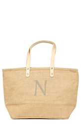Cathy's Concepts 'Nantucket' Monogram Jute Tote Beige Natural N