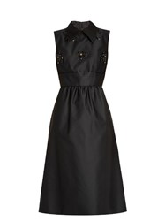 N 21 Point Collar Embellished Satin Dress Black
