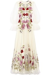 Alexander Mcqueen Embroidered Tulle Gown White