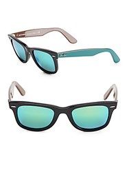 Ray Ban Logo Etched Sunglasses Black