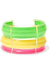 Alison Lou Jelly Set Of Three Lucite And Enamel Cuffs Green