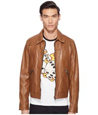 Just Cavalli Leather Jacket Cognac Men's Coat Tan