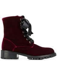 Via Roma 15 Velvet Lace Up Boots Red