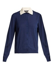 Red Valentino Contrast Point Collar Cardigan Navy