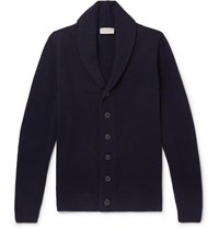 John Smedley Patterson Shawl Collar Wool And Cashmere Blend Cardigan Blue