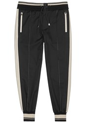 Dolce And Gabbana Two Tone Cotton Twill Jogging Trousers Black And White