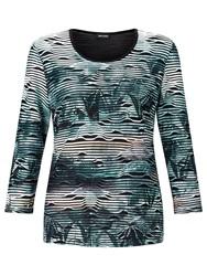 Gerry Weber Stripe Burnout T Shirt Green
