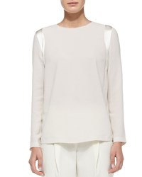 Brunello Cucinelli Long Sleeve Silk Shoulder Detail Top White