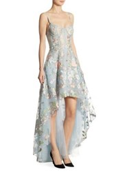 Marchesa Embroidered Tulle Hi Lo Gown Light Blue