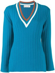Marni Ribbed V Neck Jumper Blue