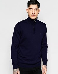 Lacoste Jumper With Half Zip In Navy A Navy