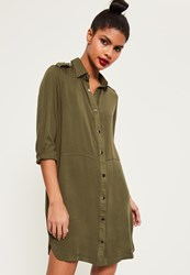 Missguided Khaki Military Style Shirt Dress