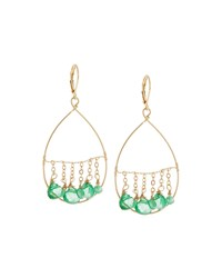 Fragments For Neiman Marcus Fragments Golden Dangling Briolette Wire Teardrop Earrings Green