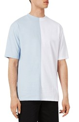 Topman Men's Splice T Shirt Light Blue Multi