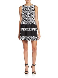 Saks Fifth Avenue Red Chevron Patterned Ponte Fit And Flare Dress Oxford