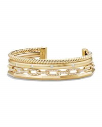 David Yurman Stax 18K Gold Four Row Cuff Bracelet