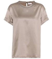 Brunello Cucinelli Silk Satin Top Brown