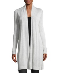 Neiman Marcus Long Sleeve Open Front Cardigan Light Gray