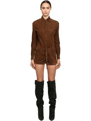 Saint Laurent Long Sleeve Suede Romper Brown