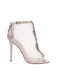 Badgley Mischka Rana Jeweled Mesh Ankle Boots Nude