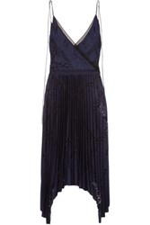 Emilio Pucci Laser Cut Pleated Crepe Midi Dress Navy