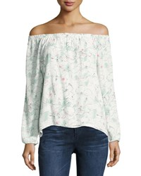 Sanctuary Chantel Floral Print Off The Shoulder Top White Pattern