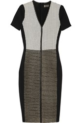Reed Krakoff Paneled Leather Mesh Amd Stretch Satin Dress Black