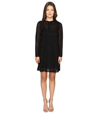 M Missoni Lace Stripe Long Sleeve A Line Dress Black Women's Dress