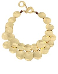 Robert Lee Morris Hammered Texture Disc Frontal Necklace Gold