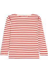 Saint Laurent Striped Cotton Jersey Top Red