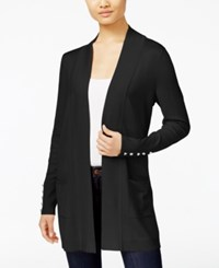 Jm Collection Petites Petite Open Front Cardigan Only At Macy's Deep Black