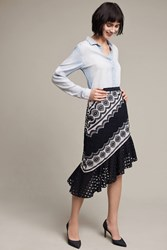 Anthropologie Flamenco Midi Skirt Black Motif