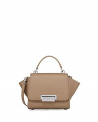 Zac Posen Eartha Iconic Mini Leather Satchel Bag Dark Beige