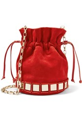 Tomasini Lucile Embellished Suede Bucket Bag Red