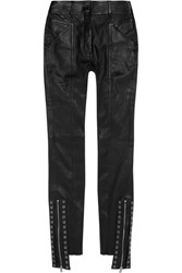 Saint Laurent Eyelet Embellished Leather Skinny Pants Black