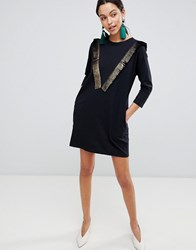 Traffic People Long Sleeve T Shirt Dress With Fringed Detail Black