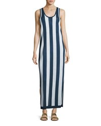 Diane Von Furstenberg Sleeveless Striped Maxi Coverup Dress Navy White