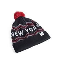 Tuck Shop Co. New York Striped Pompom Beanie Black