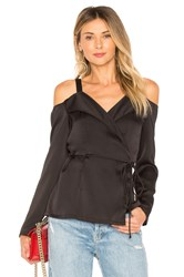 Krisa Off Shoulder Wrap Long Sleeve Top Black