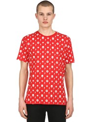 Hydrogen Printed Cotton Jersey T Shirt Red