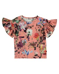 Molo Rayah Flutter Sleeve Floral Top Size 4 12 Pink Pattern