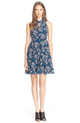 Rebecca Taylor 'Mystic' Floral Print Sleeveless Silk Dress Navy Combo