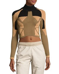 Yeezy Ribbed Mock Neck Crop Top Taupe