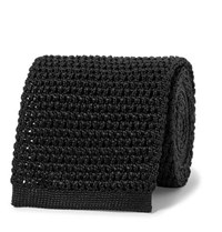 Tom Ford 7.5Cm Knitted Silk Tie Black